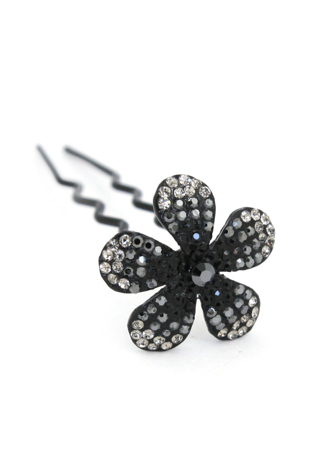 Soho Style Stick black Ombre Crystal Flower Hair Stick