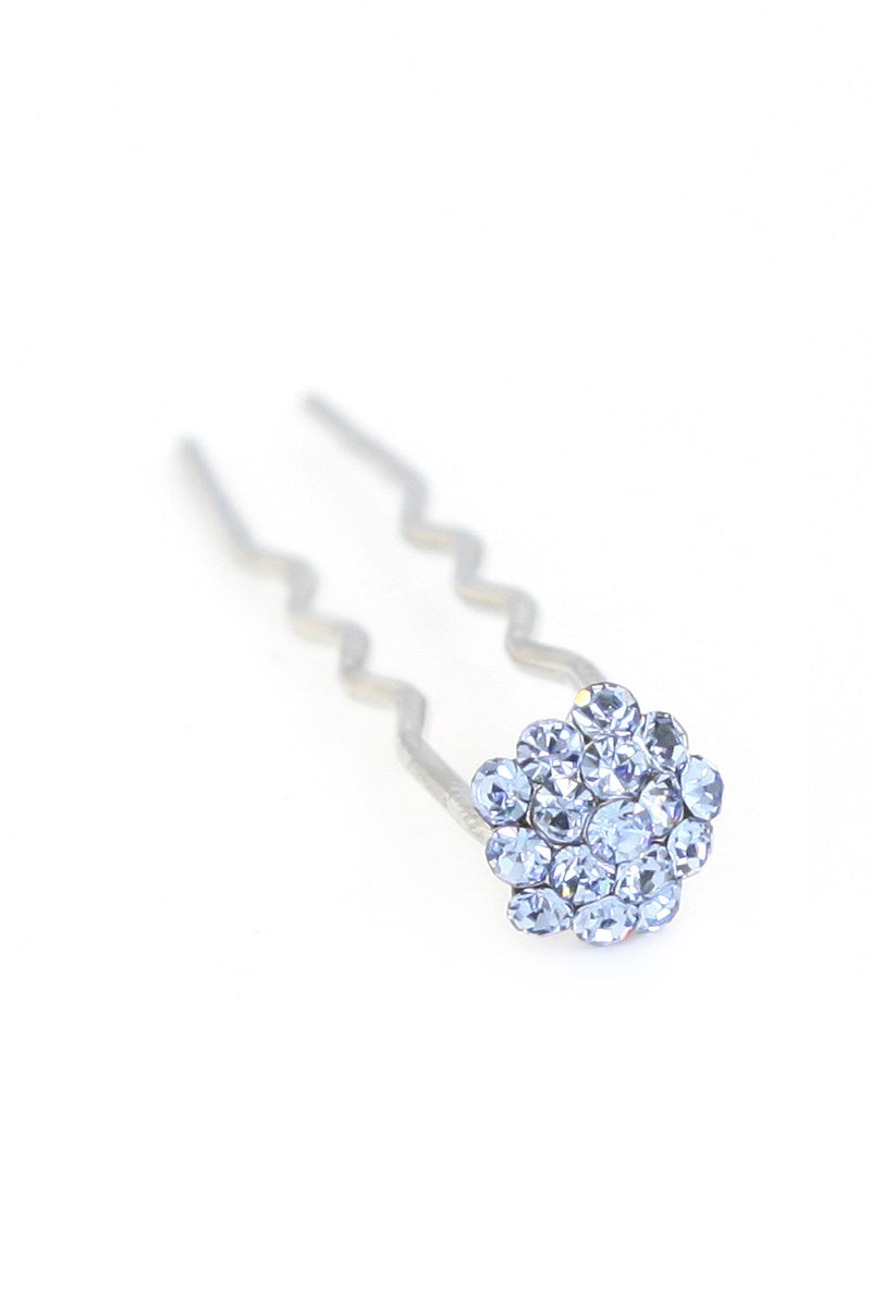 Soho Style Stick Blue Mini Crystal Cluster Hair Stick