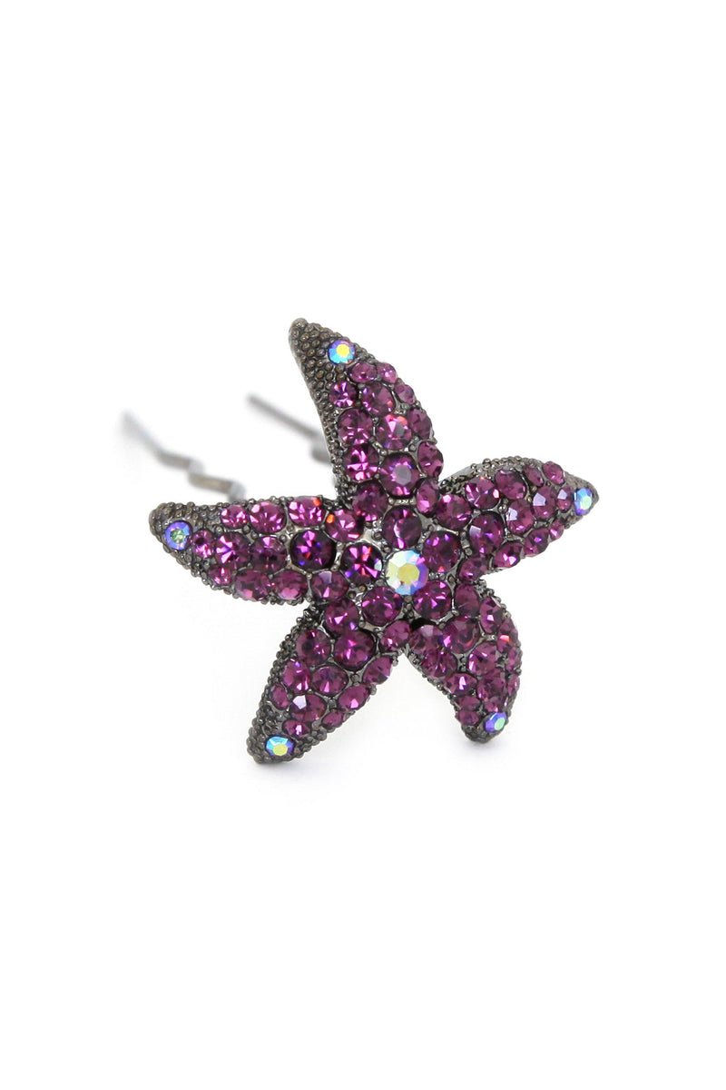 Soho Style Stick Deep Purple Crystal Starfish Hair Stick