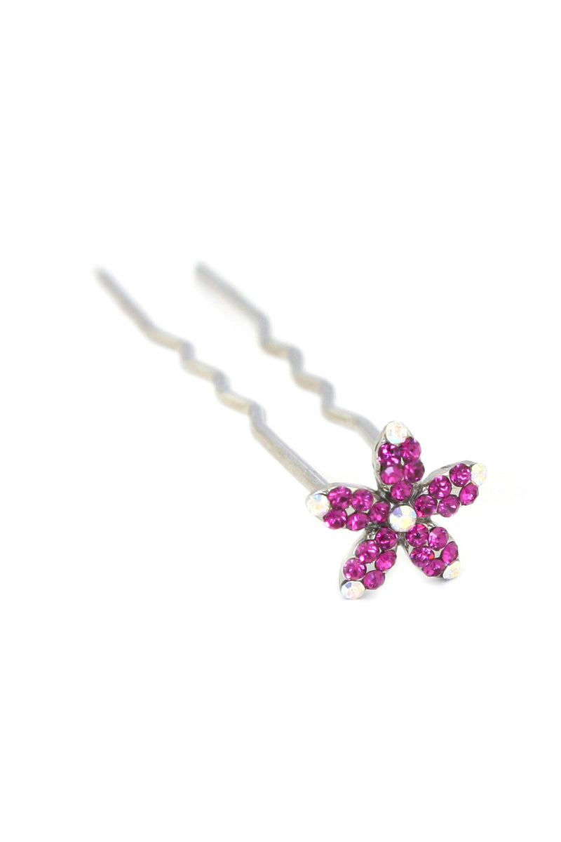Soho Style Stick Fuschia Small Crystal Daisy Hair Stick