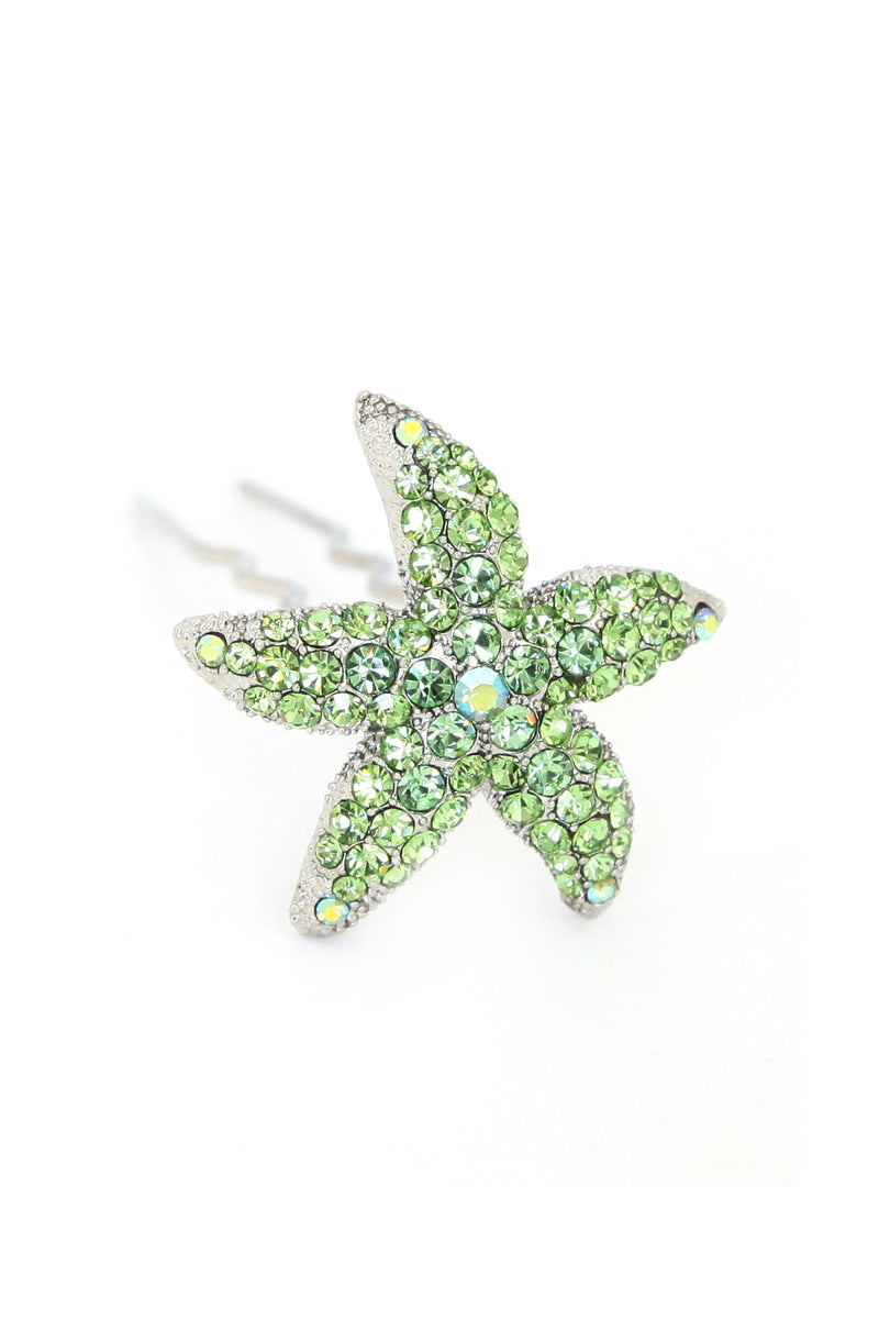 Soho Style Stick Green Crystal Starfish Hair Stick