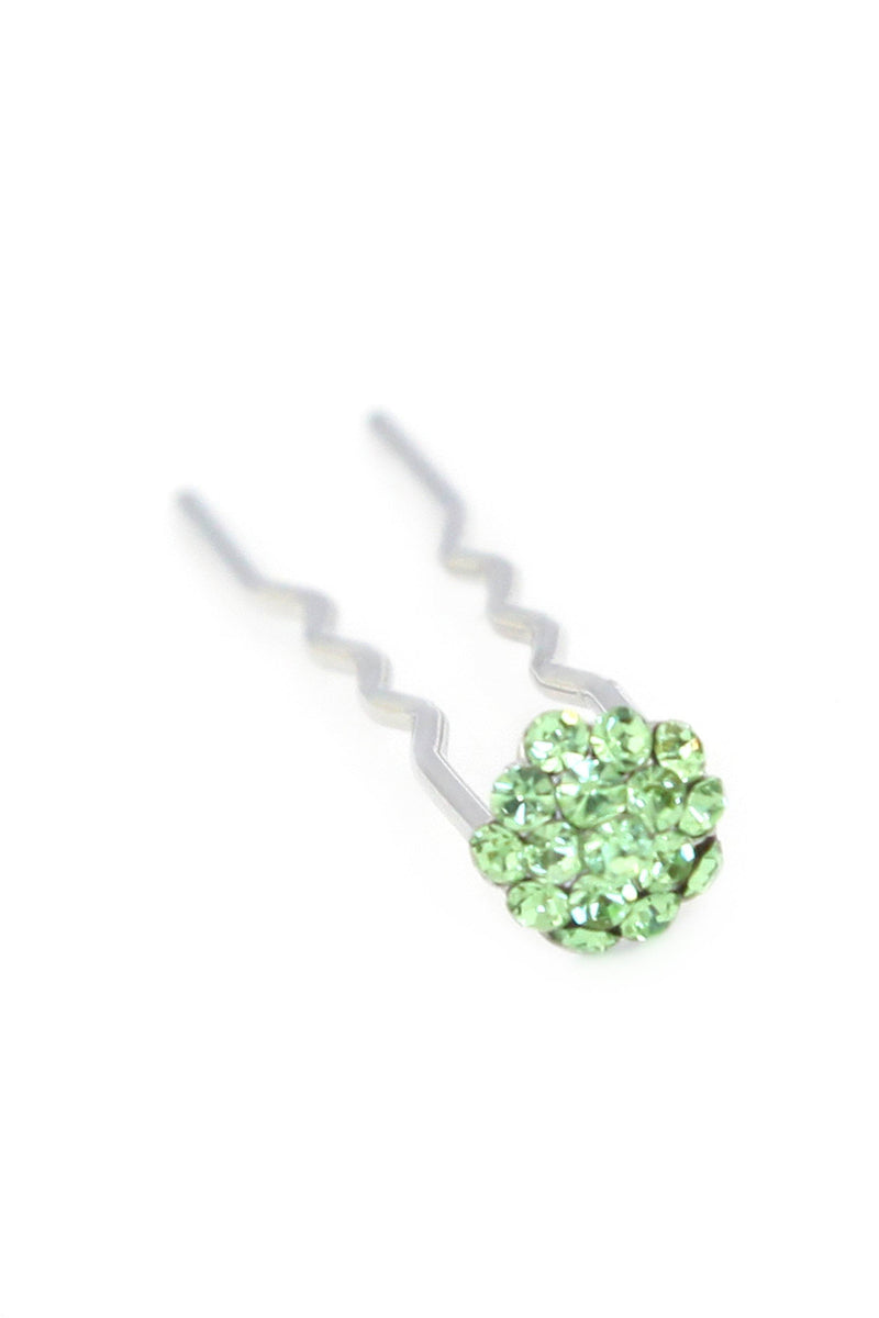 Soho Style Stick Green Mini Crystal Cluster Hair Stick