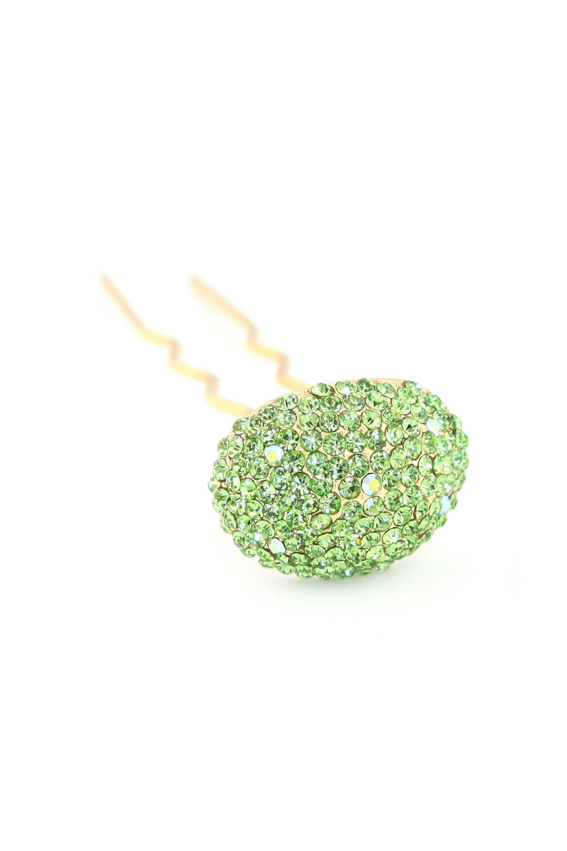 Soho Style Stick Green / Single Crystal Mushroom Hair Stick