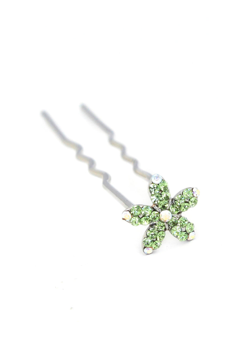 Soho Style Stick Green Small Crystal Daisy Hair Stick