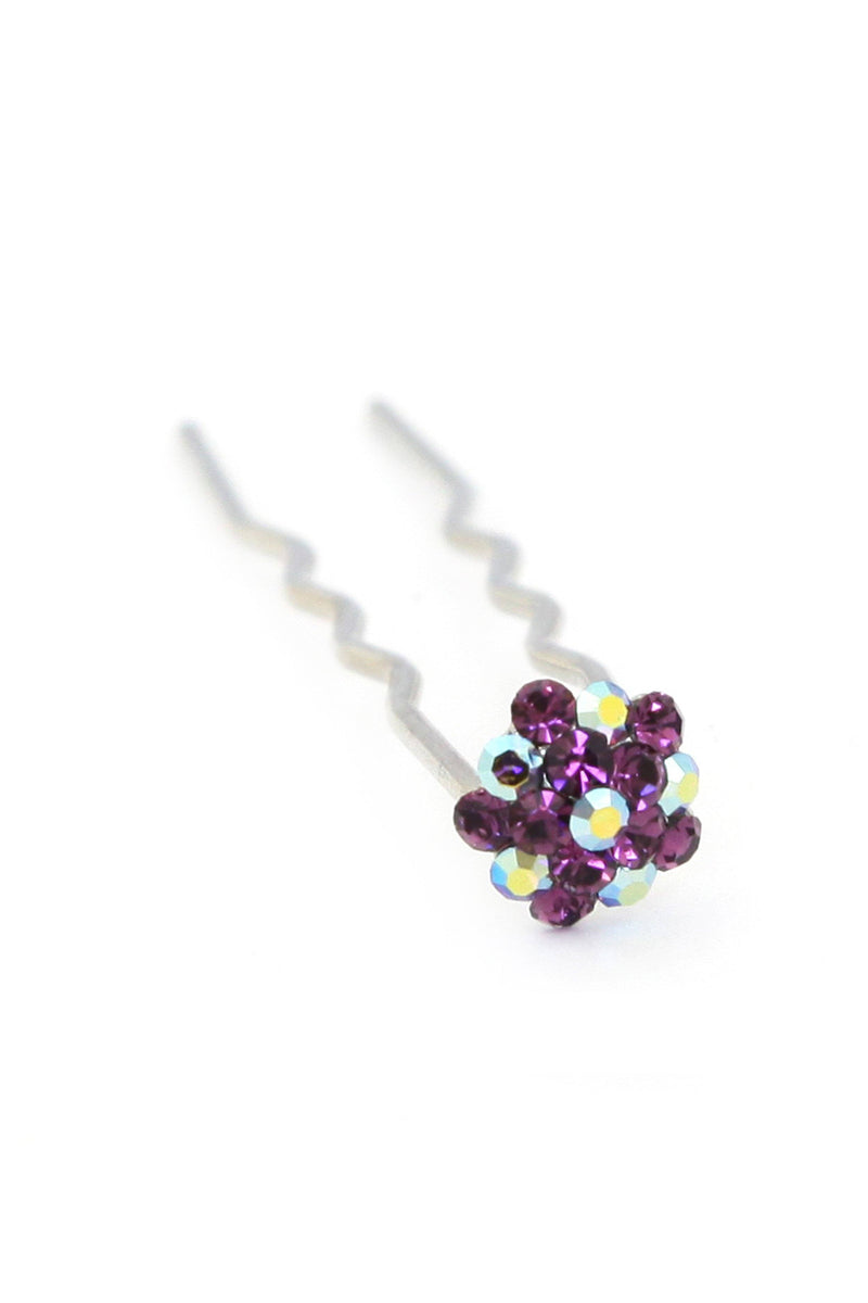 Soho Style Stick Multi- Purple Mini Crystal Cluster Hair Stick