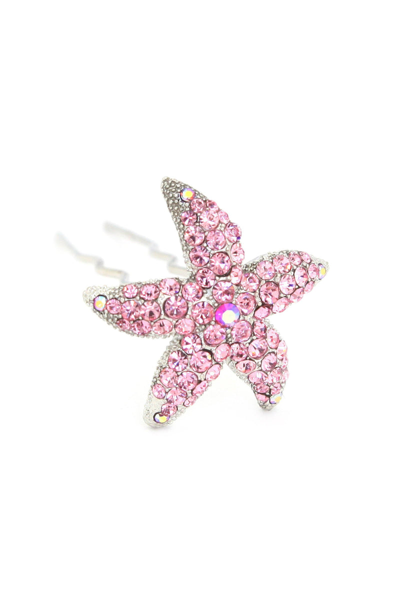 Soho Style Stick Pink Crystal Starfish Hair Stick