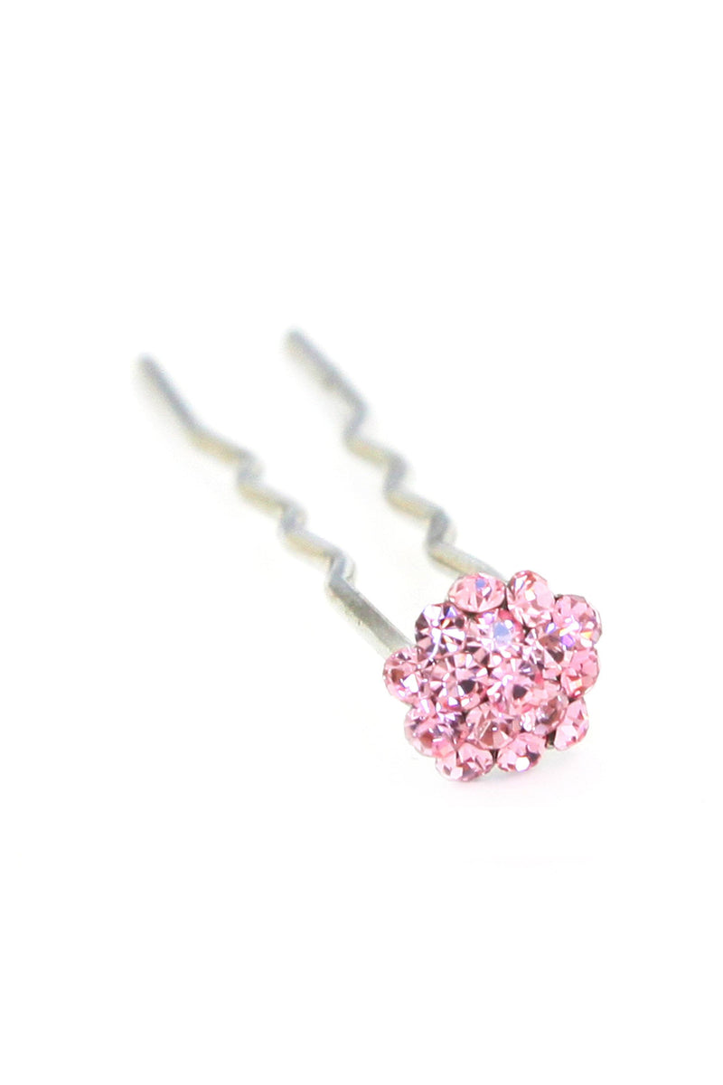 Soho Style Stick Pink Mini Crystal Cluster Hair Stick