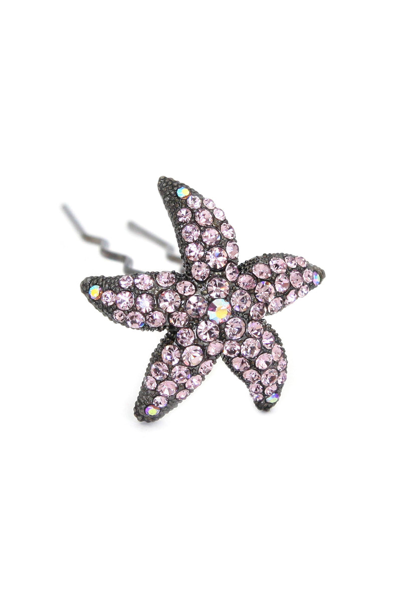 Soho Style Stick Purple Crystal Starfish Hair Stick