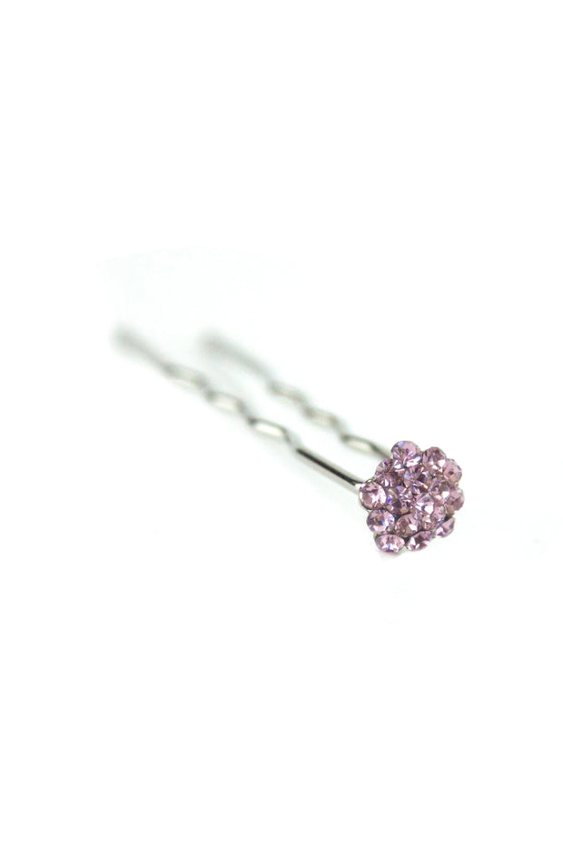 Soho Style Stick Purple Mini Crystal Cluster Hair Stick