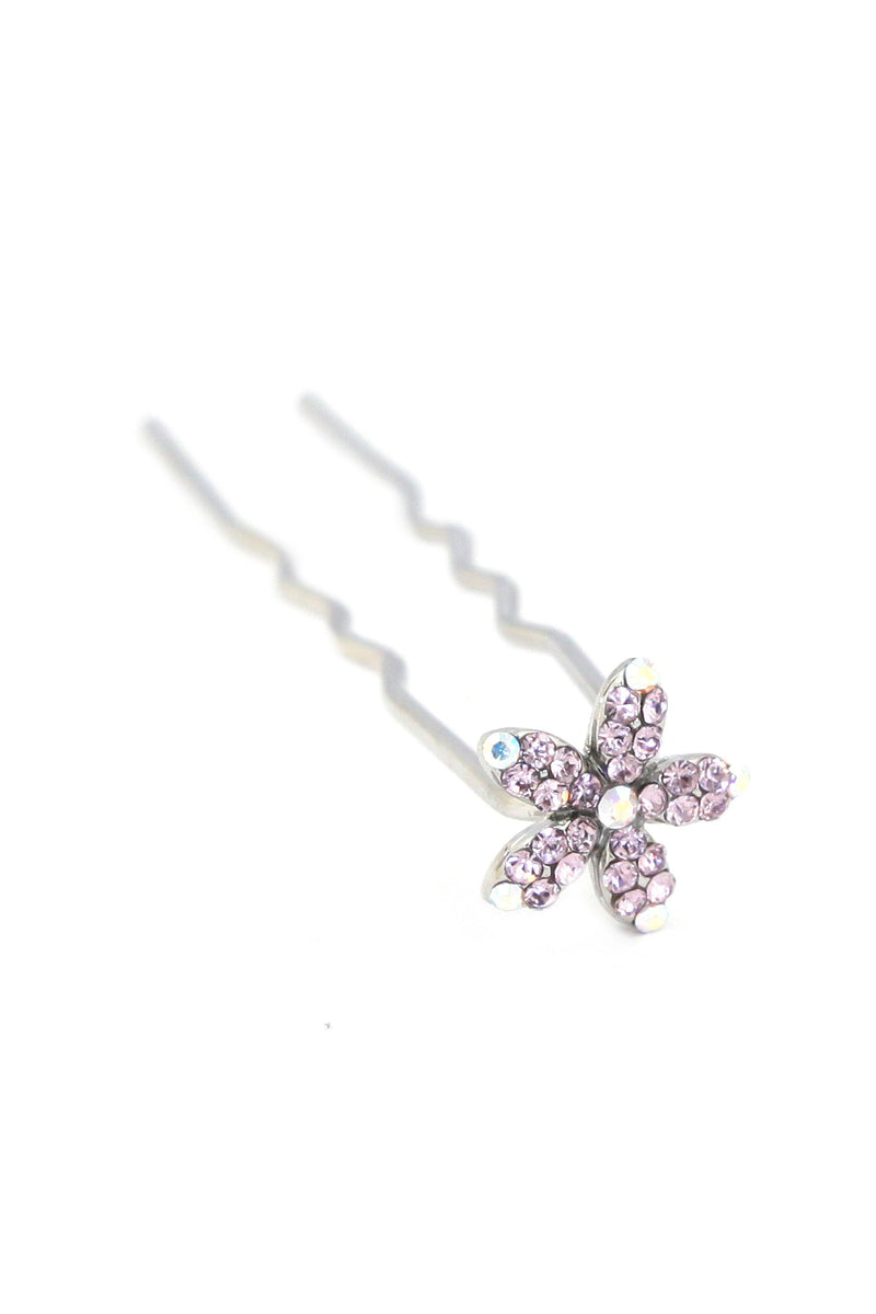 Soho Style Stick Purple Small Crystal Daisy Hair Stick