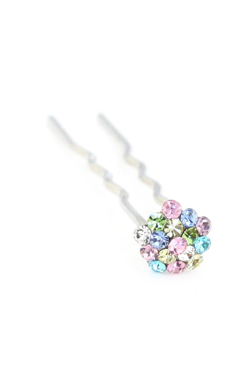 Soho Style Stick Rainbow Mini Crystal Cluster Hair Stick