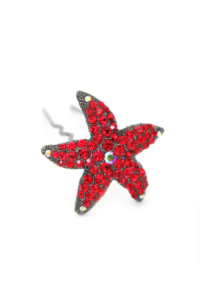 Soho Style Stick Red Crystal Starfish Hair Stick