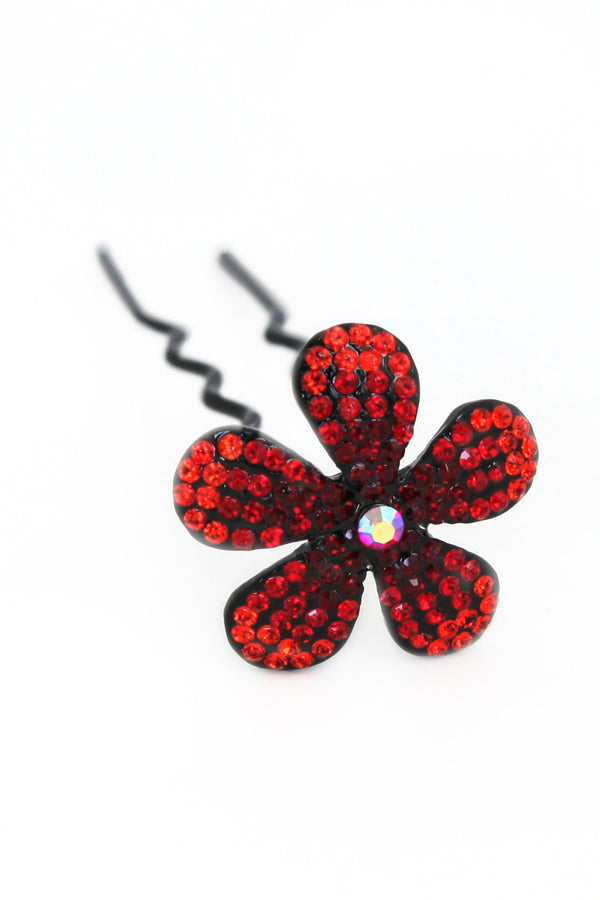 Soho Style Stick red Ombre Crystal Flower Hair Stick