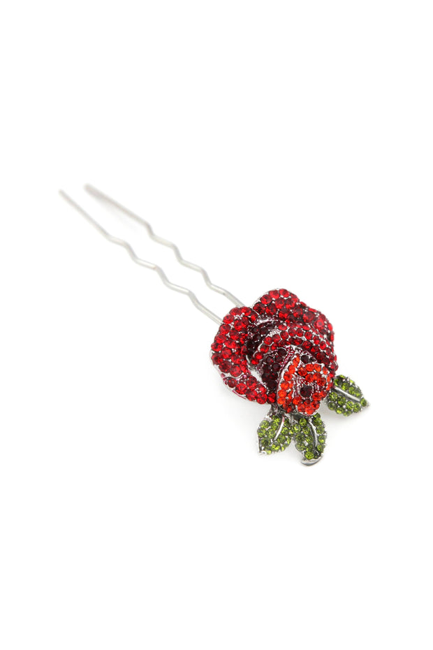 Soho Style Stick Red Rose Hair Stick