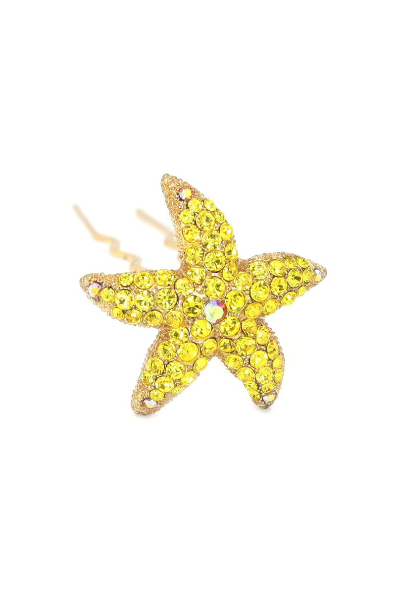 Soho Style Stick Yellow Crystal Starfish Hair Stick