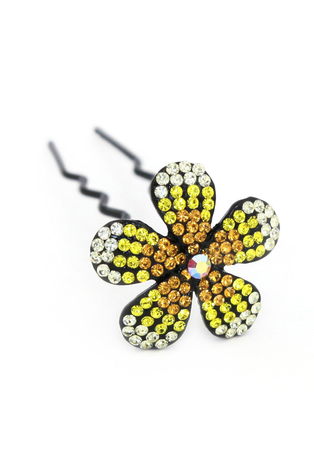 Soho Style Stick yellow Ombre Crystal Flower Hair Stick