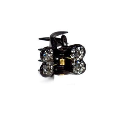 Soho Style value set Black / Set of 5 Mini Butterfly Hair Jaw with Crystal Covered Wings Value Set
