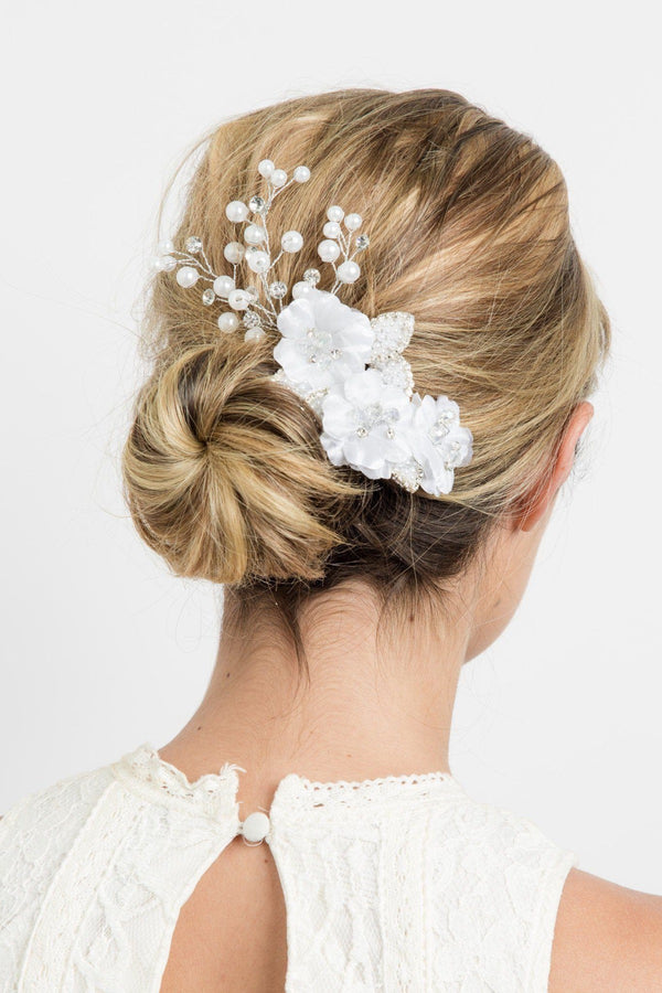 Delicate Organza Crystal flower Comb Wedding Soho Style