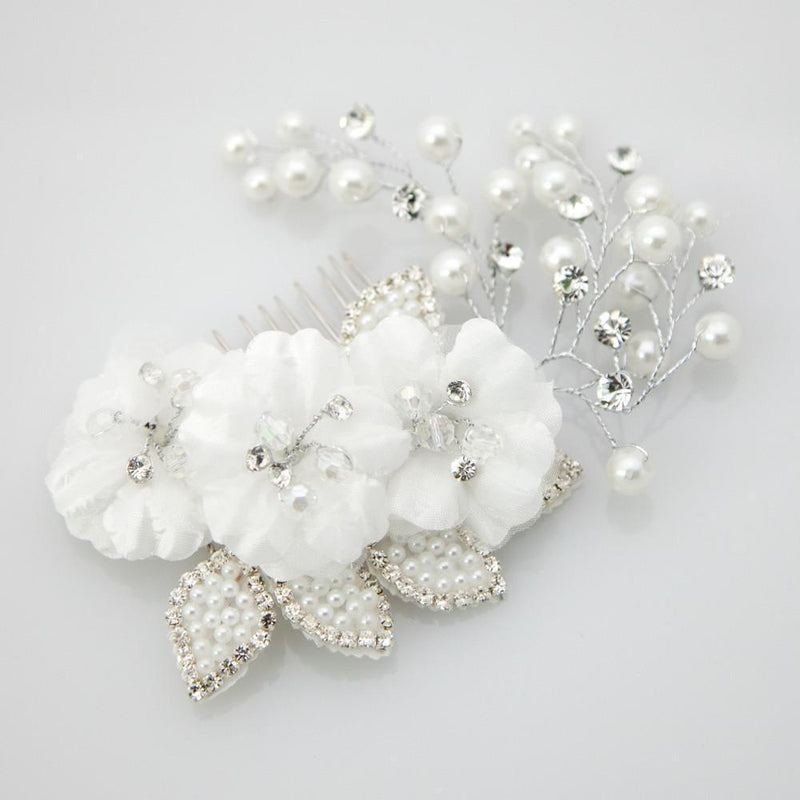 Delicate Organza Crystal flower Comb -  Wedding, Soho Style