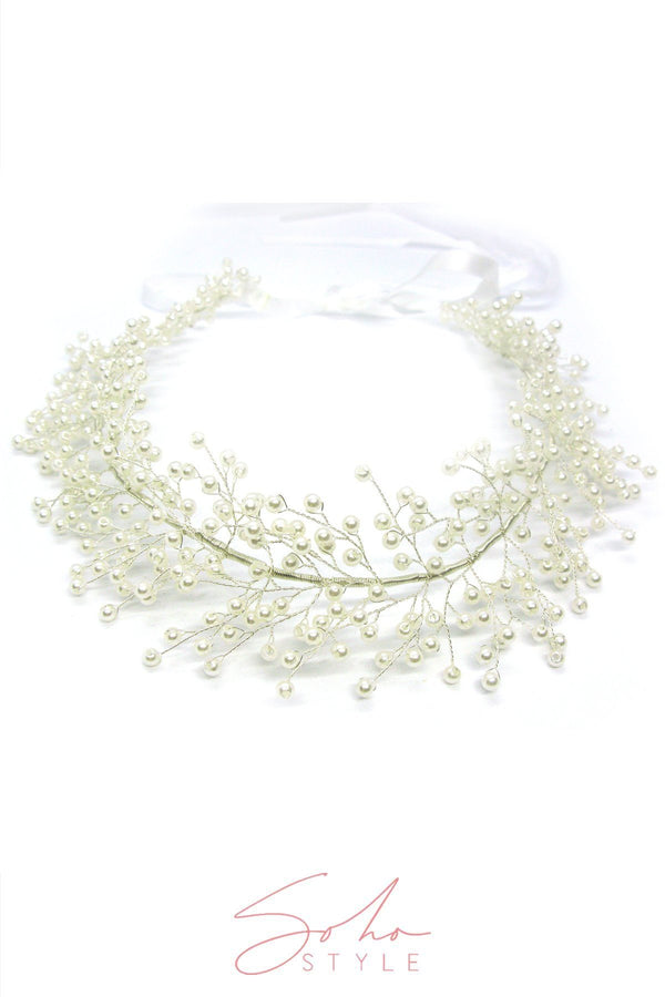 Pearl Baby's Breath Bridal Crown Wedding Sale