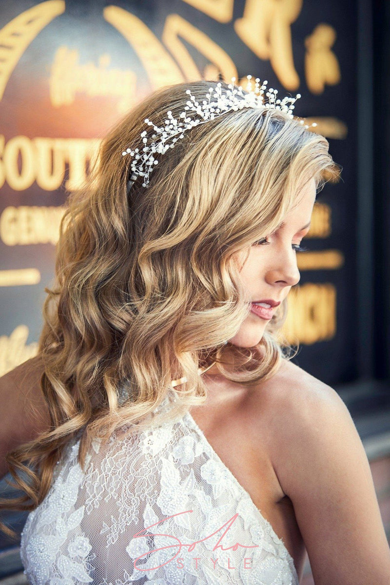 Delphine Baby's Breath Crystal Hair Crown Wedding Sale