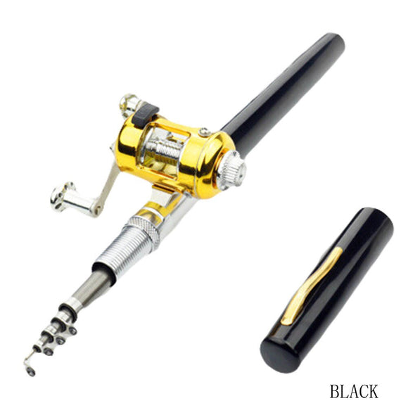 Portable Pocket Telescopic Mini Fishing Rod Pole Pen Shape Folded Fishing Rod With Reel Wheel
