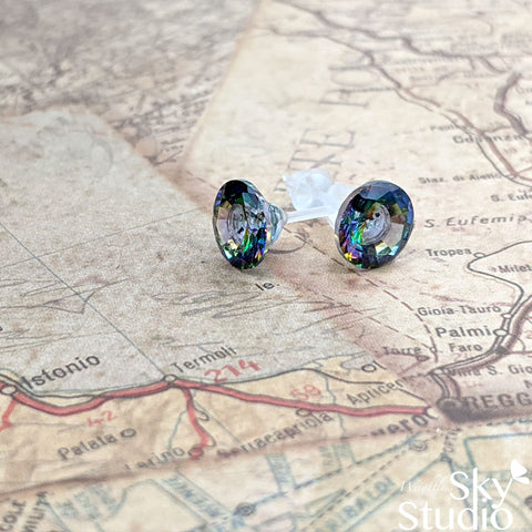Allergy Free Stud Earrings: Mystic Peacock Color