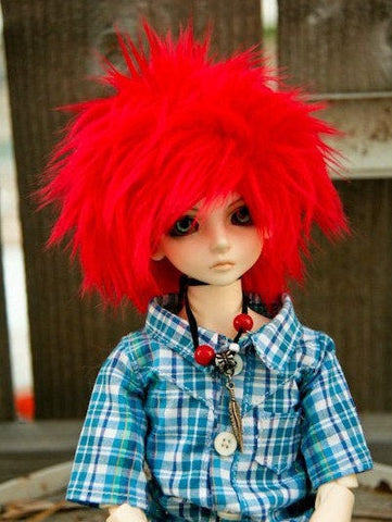 Puffy Red Color Fur Wig