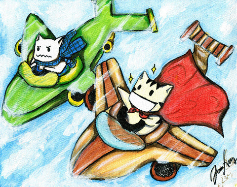 "Cocorons: ""Race through the Sky"" Art prints of cats"