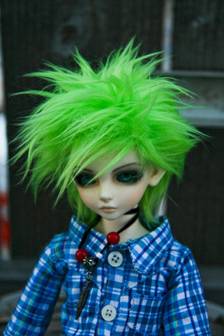 Neon GREEN Color Fur Wig