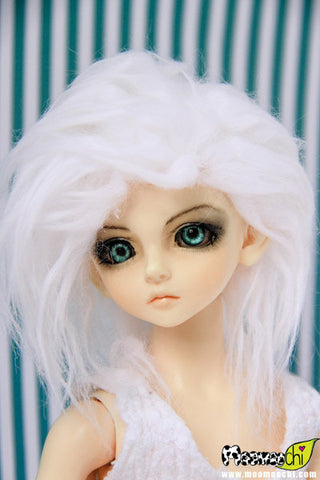 Color Wavy White Fur Wig