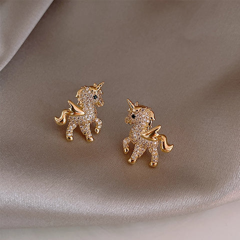 Shiny Crystal Unicorn Pegasus Gold Earrings