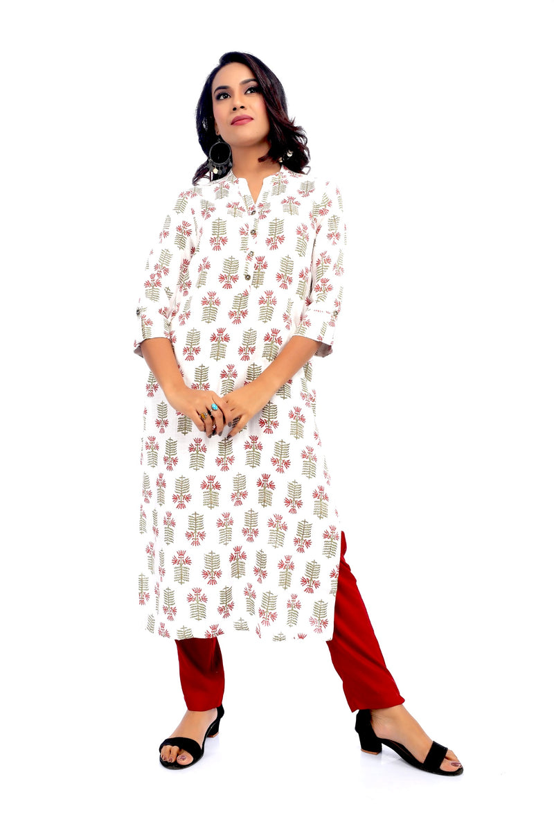 Flower and Leaf Motif Kurta