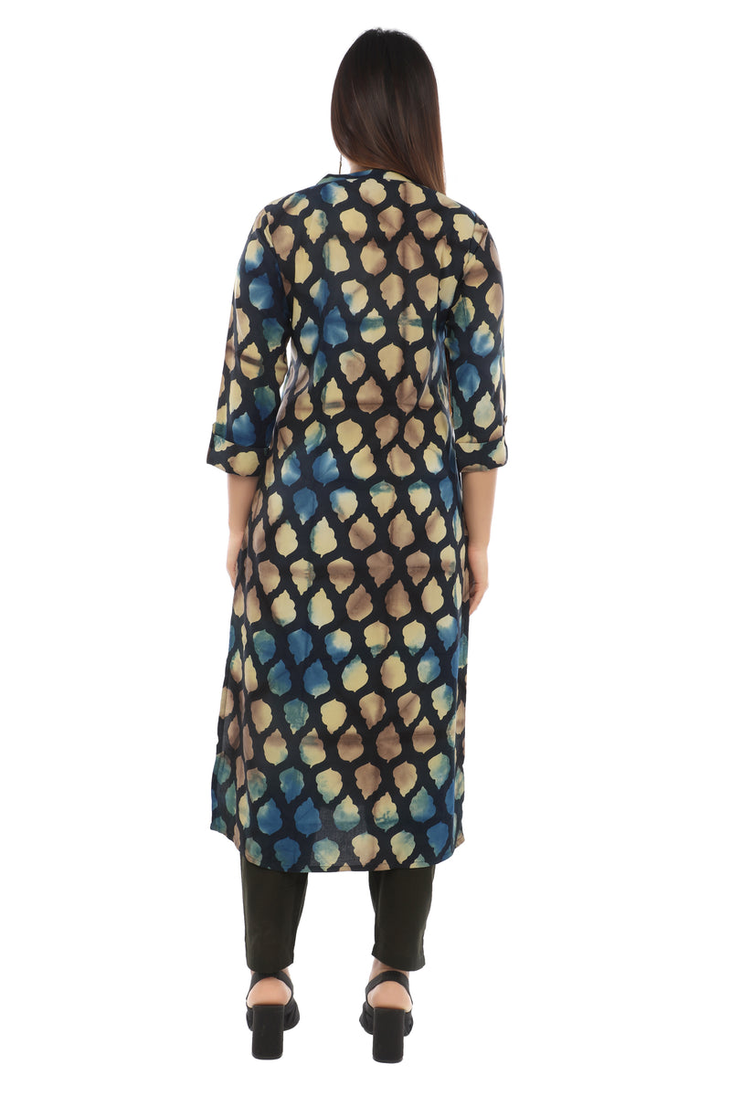 Blue Abstract Sanganeri Kurta