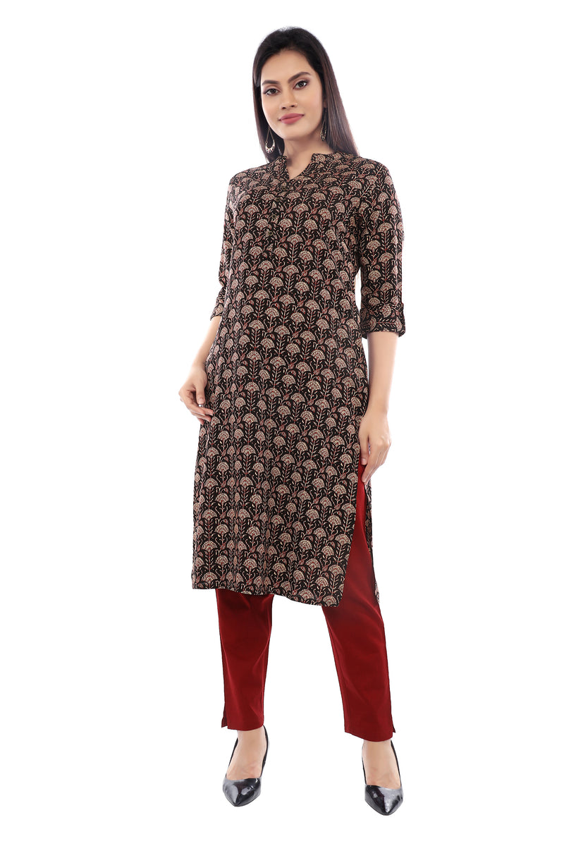 Black/Red Stripe Printed Kurta