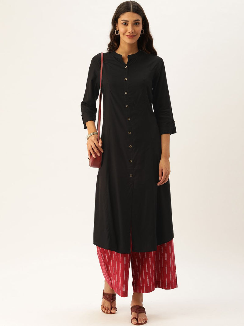 Black  Essential Solid Kurta