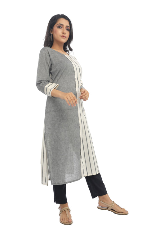 Grey Asymmetrical Stripe Kurta