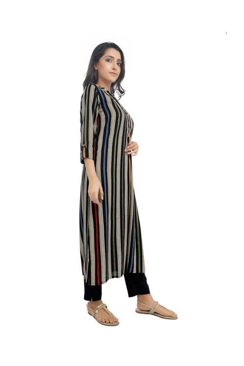 Multi Coloured Stripe Sanganeri Kurta