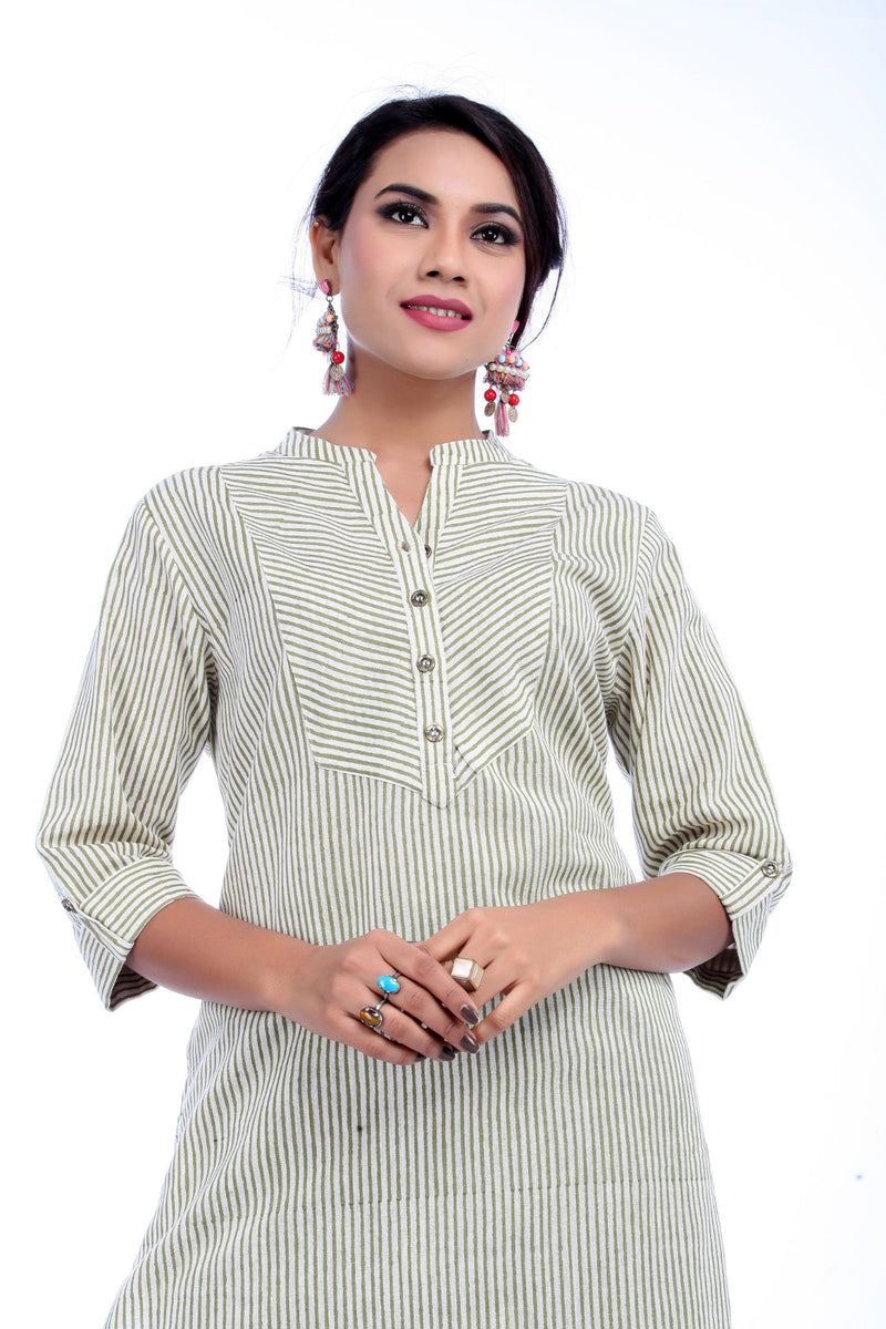 Green Stripe Printed Kurta