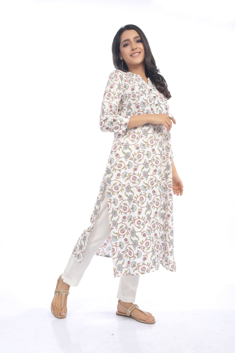 Ivory with multi coloured Jaal Print