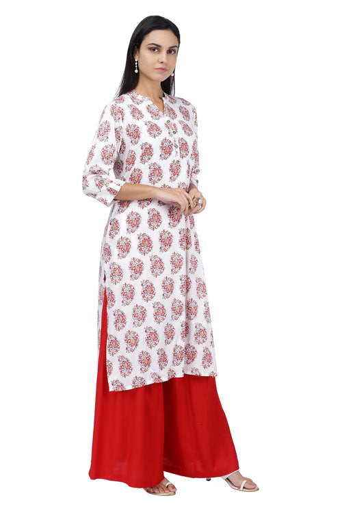 Red Floral Printed Kurta