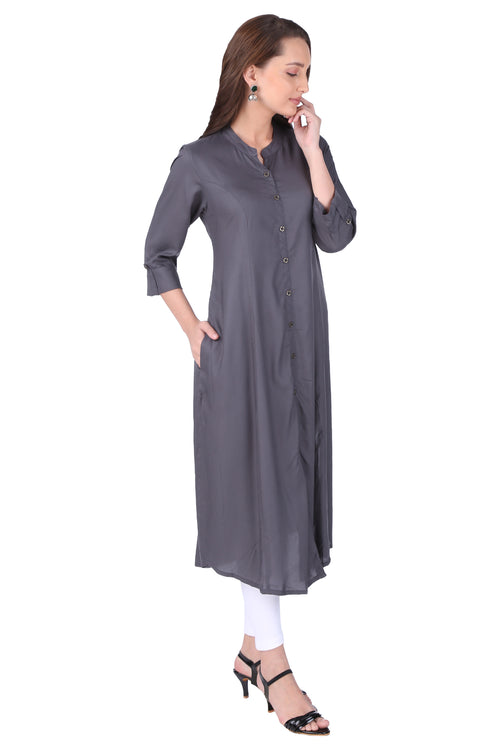 Grey Essential A-Line Kurta