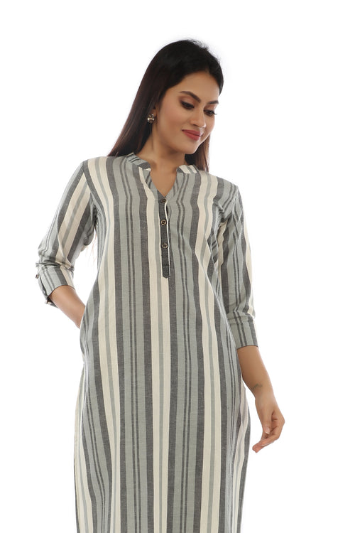 Grey Stripe Kurta