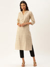 Grey Checks Printed Kurta