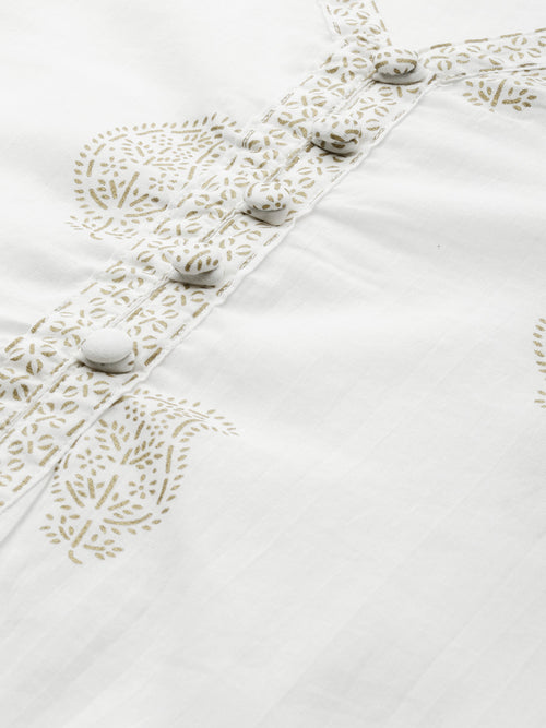 White Rogan Printed Kurta