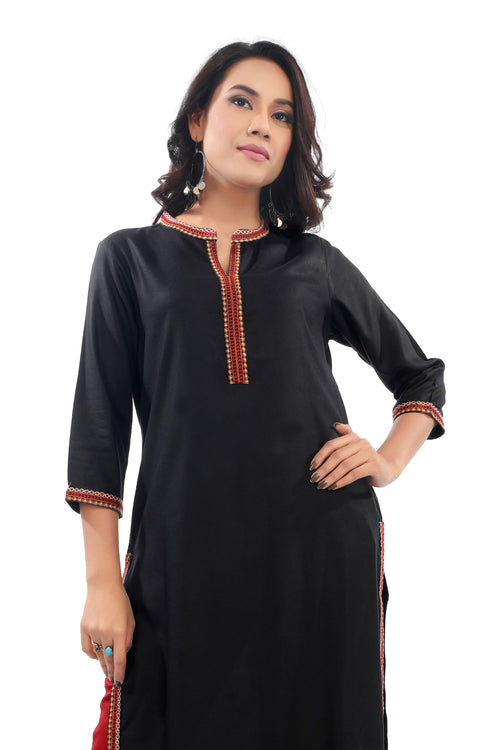 Black Embroidery Kurta
