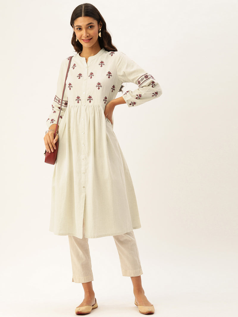 White Red Embroidery Kurta
