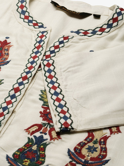 White Flower Embroidery Kurta