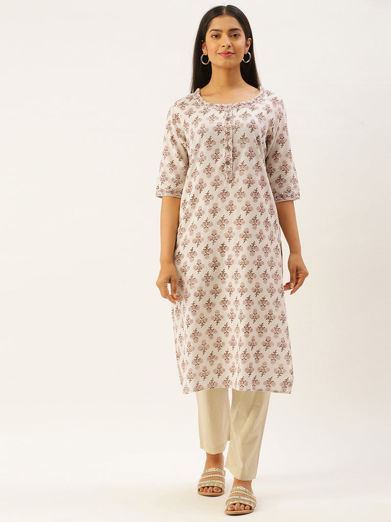 Brown Floral Printed Kurta