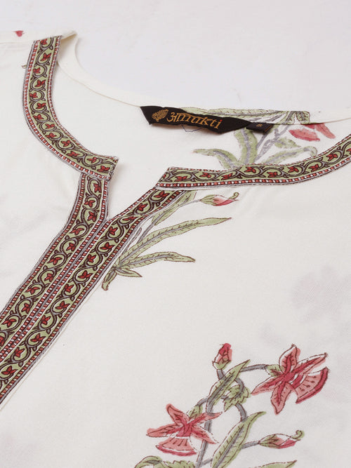 Red Green Floral Hand Block Printed Kurta